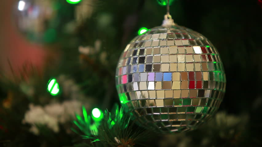 Specular Ball With Lights On Christmas Tree
