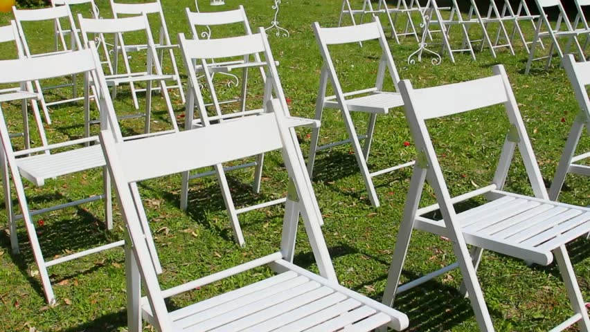 Wedding Aisle Decor White Chairs Outdoors Ceremony Set Up In Garden Rows Of Wooden Empty On Lawn Before