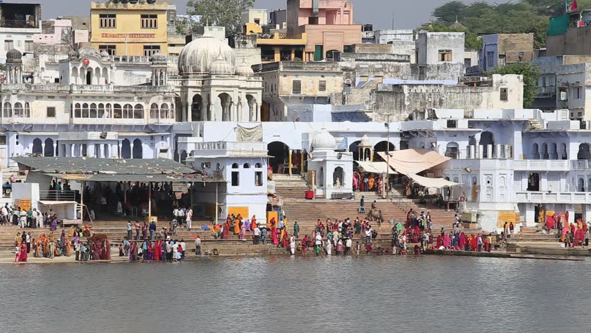Pilgrims bathing in the sacred holy lake at pushkar in ajmer pushkar india october 26 2014 unidentified indian people at ritual washing in altavistaventures Image collections