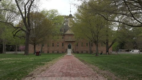 WILLIAMSBURG, VIRGINIA - APR 2015: Colonial Williamsburg Virginia College of William and Mary. Established here in 1693. Sixteen signers of the Declaration of Independence were educated here.