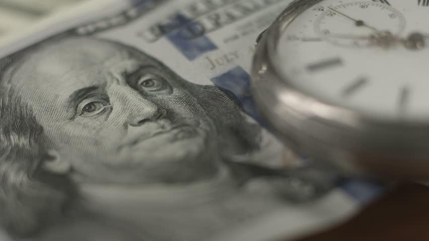 Closeup one hundred dollar bill, Franklin, crisis, money, time   Shutterstock HD Video #9979121